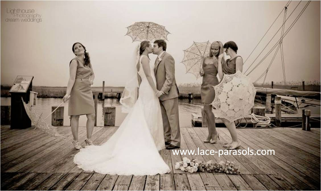 wedding parasols by the beach